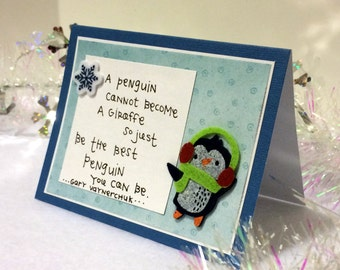 Inspirational Cute Penguin Quote Blue Card with envelope