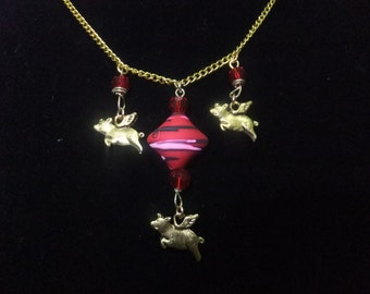 Gold and Red Flying Pig Necklace