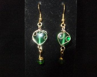 Wrapped Green Heart Earrings