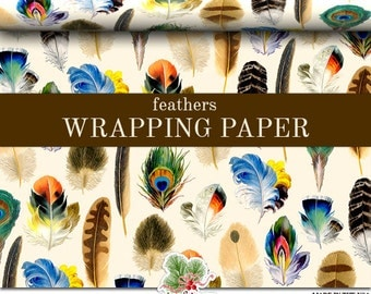 Feathers Wrapping Paper | Vintage Feather Art Gift Wrap Paper 9 foot or 18 foot Rolls Great For Any Occasion.