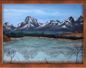 Mountain Reflection Acrylic Painting, 12 x 16 Acrylic Landscape Painting