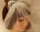 1920s Inspired side Tiara/Headband.Exquisite Precious Vintage w birdcage veil