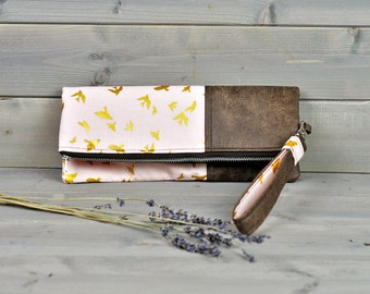 Libertine - Fold Over Clutch Purse Ladies Zipped Pouch Pink Gold Swallow Bird Brown Leather Cross Body Bag Wedding Clutch Bridesmaid Gift