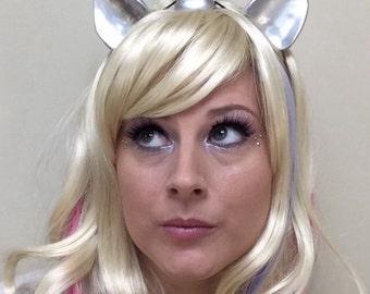 "Unicorn Horn, Unicorn Horn Headband, Unicorn Horn and Ear Set 5"" Elastic Headband glitter option festival cosplay costume ren fair Headband"
