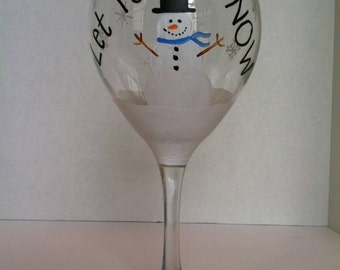 Christmas wine glass | Etsy