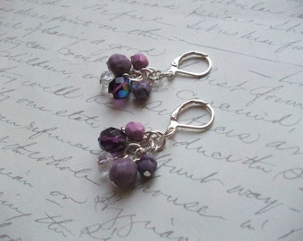 Purple and lilac drop earrings
