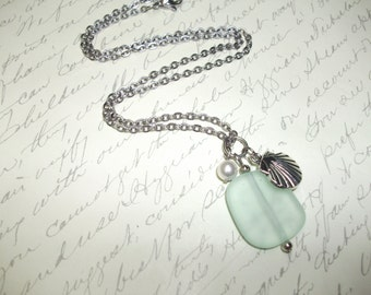 Seafoam seaglass with shell and pearl necklace