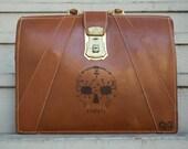 Leather Portfolio with Skull Design on front. - Día de los Muertos - Day of the Dead