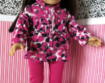 Pink and Black Leopard Print Half Zippered Pullover, leggings for 18 inch dolls