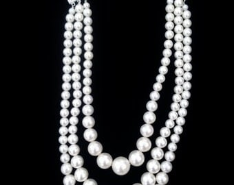 Vintage White Pearl Multistrand Necklace - Pearl Necklace - Vintage White Multistrand Necklace - Wedding Necklace