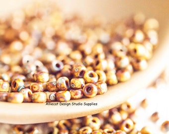 10g Opaque Brown Picasso 8/0 Miyuki Seed Beads (CB015)