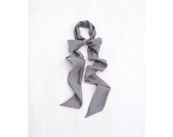 gray pinstripe silk neck bow
