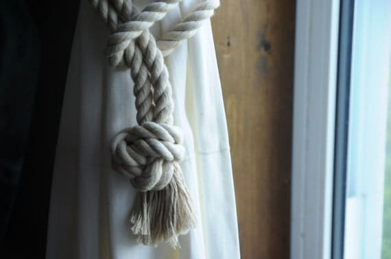 Khaki Cotton Curtain Tiebacks - Nautical Tiebacks - Nautical Decor - (this is for a pair)