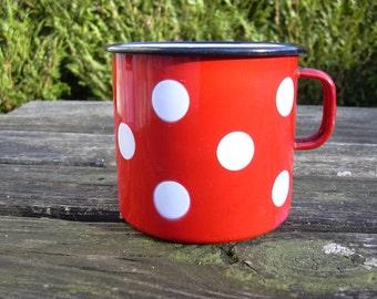 Vintage 60's enameled polka dots mug, red and white.
