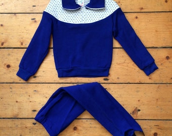Vintage 1960s Children's Sweater + Trousers / Outdoors / Ski Outfit - Acrylic - Royal Blue - 4/5 Yrs old.