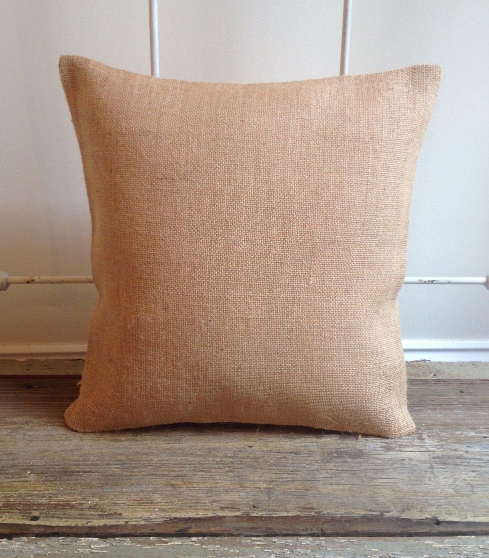 Burlap Pillow Cover - blank cover only - Natural Burlap, White Burlap, Cotton Canvas Pillow ...