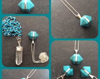 Double crystal prism - turquoise howlite