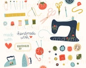 Sewing Digital Clip Art - 39 Hand Drawn Illustrations - Commercial Use - .png files - instant download