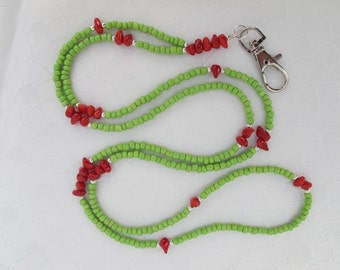 Green, Red and Silver Lanyard. Handmade Beaded ID Badge Holder. Necklace ID Holder. Green Glass beads, Red Coral beads and Silver beads.