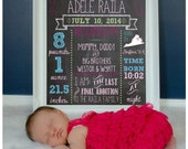 Monthly Baby Milestones Photo Prop -1 Design - Chalkboard - Boy, Girl, Infant, 1 Year Old, Growth, Birthday, Stats