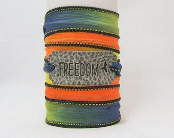 SILK WRAP Bracelet ~ Freedom Antiqued Silver Hammered Metal Word Band ~ Blue, Green, Yellow, Orange ~ Hand Dyed 100% Silk Ribbon