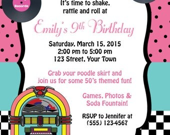 50's Themed Birthday Invitation, Birthday Invitation, Personalized Digital Invitation