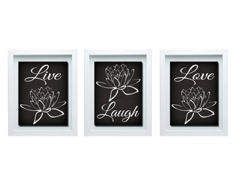 Live Laugh Love Decoration, Black And White Wall Art, Black And White Decor, Bedroom Wall Art, Bathroom Decor, Home Decor, Living Room Decor