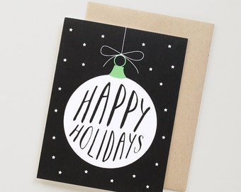 White Ornament - Happy Holidays. Holiday Greeting Cards.