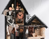 Haunted Shadow Box, Halloween Assemblage. Skeleton, Home Decor