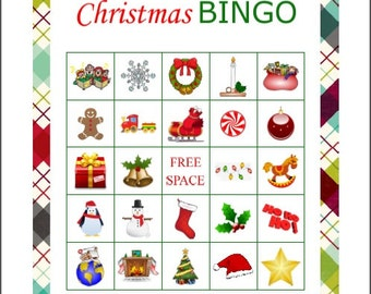 50 Printable Christmas Bingo Party Game cards, immediate pdf download