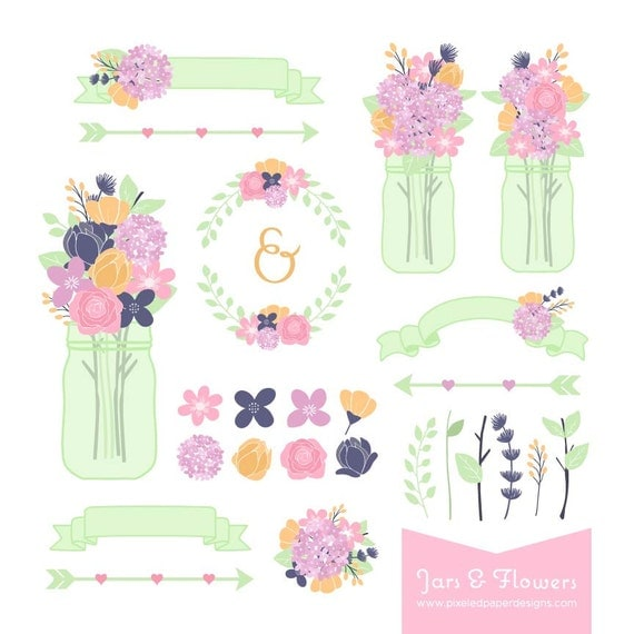 Mason Jars & Flowers Digital Clipart - Magnolia, Hydrangea, Rose. Graphics for Scrapbook, Wedding Invites, etc| Commercial License Available