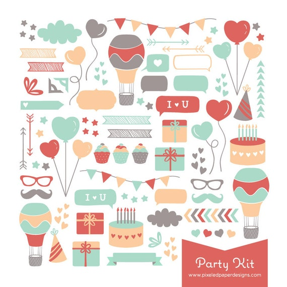 Party Digital Clip Art - Birthday & Celebration themed Graphics for Photography, Scrapbook, Card, Invites | Commercial License Available