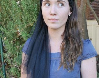 Black Tulle & Lace beaded Headband