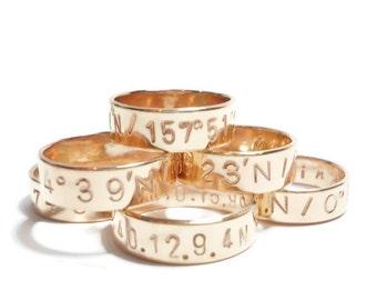 Personalized LATITUDE & LONGITUDE Ring, Custom Coordinate Ring, Personalized Gold Band, Coordinate Jewelry, Customized Ring, Gift for Her