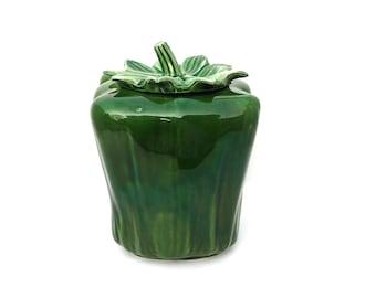 Vintage McCoy Cookie Jar, Green Bell Pepper, Mt. Clemens, 157, Large
