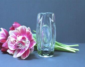 SKLO UNION CZECH 'Lens' or 'Bullet' Vase, Clear Glass, Rosice Glassworks, Rudolf Schrotter, Czechoslovakia, Midcentury Modern, Modernist