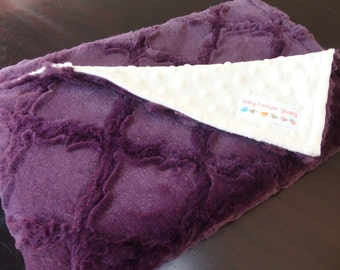 Minky Baby Blanket - Plum Lattice and Ivory - Baby Girl - Made to Order