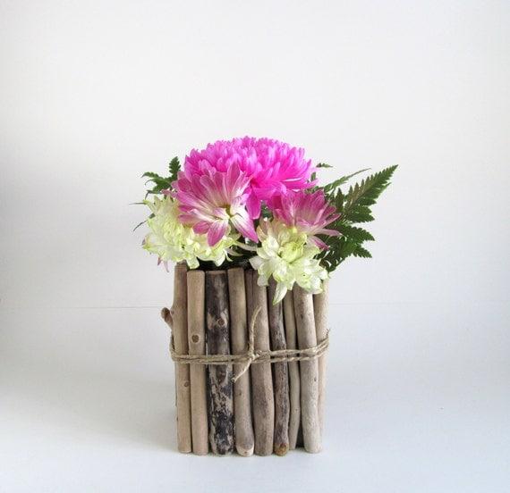 En stock vase fleur de bois flott mariage par for Vase en bois flotte