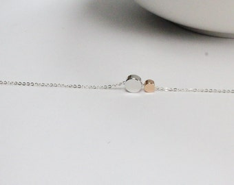 New Mother Gift. Two Mini dot Jewelry. rose gold bead. Gift for New Mommy,Simple Dainty Chic Jewelry,  Small, Karma,Tiny, Circle, Jewelry