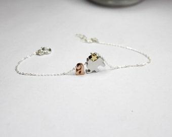 Initial Elephant Bracelet, Rose gold letter Bracelet, Elephant Charm Jewelry, Star & Elephant Bracelet,, Lucky Animal Bracelet personalized
