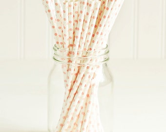 Paper Straws in White & Baby Pink Polka Dots - Set of 25 - Cute Fun Unique Pretty Wedding Birthday Party Shower Accessories Decor