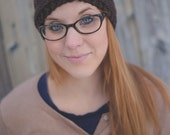 Knit Headband w/ Button - Brown & Floral