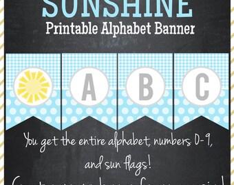 Sunshine Printable Alphabet Banner - Instant Download