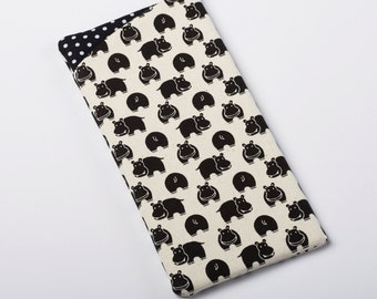 Hippo Glasses Case, Fabric Sunglass Case, Eyeglass Holder in Black and White