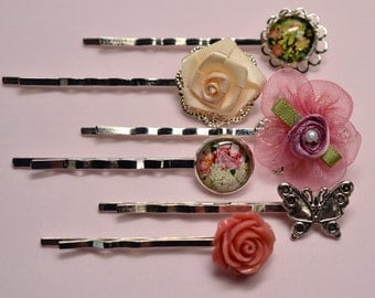 Pink Silver Hairpins, Bobby Pin Set, Peach Rose Hair Accessory, Pink Silk Flower, Floral Glass Cabochons, Butterfly, Bridesmaid Hair, H1052