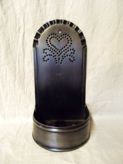 Punched tin metal hanging candle holder prim punched heart - Punched metal candle holder ...