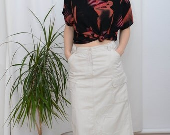 90'S vintage women's beige long/ maxi pencul skirt with pocket