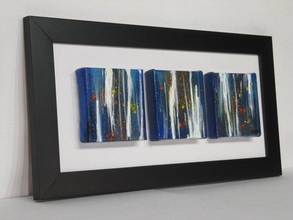 Triptyque peinture abstraite originale bleu blanc color - Peinture acrylique triptyque ...