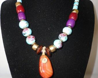 Faux Suede Sardonyx Pendant Gold Tone Necklace.