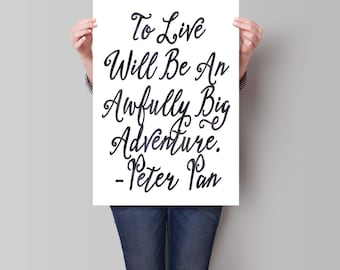 Printable Peter Pan Art Print, Instant Download, Peter Pan Quote, Typographic Print, Inspirational Quote, Watercolor Art